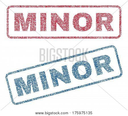 Minor text textile seal stamp watermarks. Blue red fabric vectorized texture. Vector caption inside rounded rectangular shape. Rubber sign with fiber textile structure.