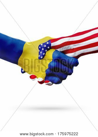 Flags Barbados and United States countries handshake cooperation partnership and friendship or sports competition isolated on white