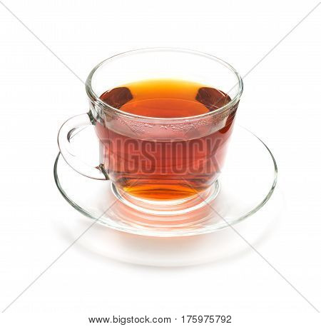 Isolated cup of black tea on white background. Transparent cup and saucer