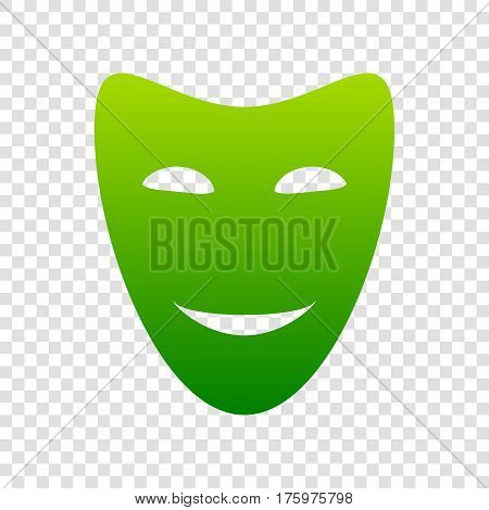 Comedy Theatrical Masks. Vector. Green Gradient Icon On Transparent Background.