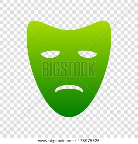 Tragedy Theatrical Masks. Vector. Green Gradient Icon On Transparent Background.