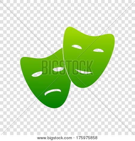 Theater Icon With Happy And Sad Masks. Vector. Green Gradient Icon On Transparent Background.
