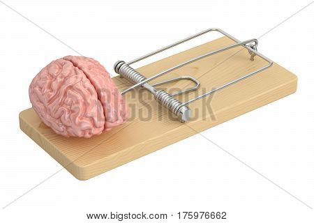 Brain in mousetrap 3D rendering isolated on white background