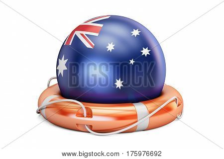 Lifebelt with Australia flag safe help and protect concept. 3D rendering