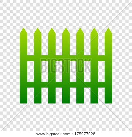 Fence Simple Sign. Vector. Green Gradient Icon On Transparent Background.
