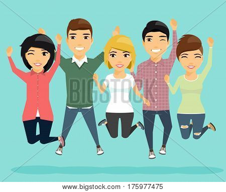 The company of young people is jumping with happiness. Young guys and girls in a jump. Isolated in a flat style. Cartoon.