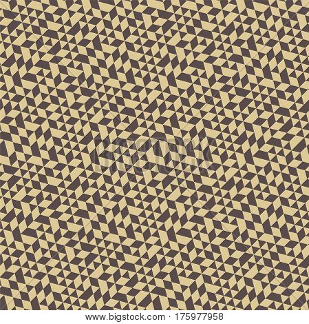 Geometric pattern with gray and golden triangles. Seamless abstract background