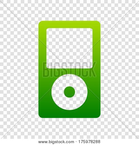 Portable Music Device. Vector. Green Gradient Icon On Transparent Background.
