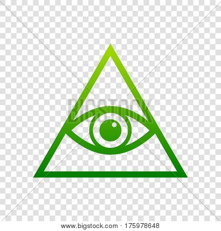 All Seeing Eye Pyramid Symbol. Freemason And Spiritual. Vector. Green Gradient Icon On Transparent B