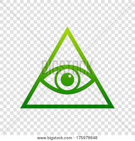 All Seeing Eye Pyramid Symbol. Freemason And Spiritual. Vector. Green Gradient Icon On Transparent B