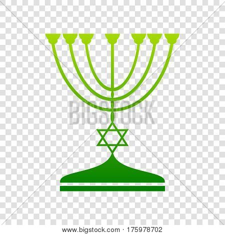 Jewish Menorah Candlestick In Black Silhouette. Vector. Green Gradient Icon On Transparent Backgroun