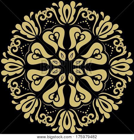 Oriental pattern with golden arabesques and floral elements. Traditional classic ornament