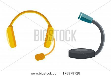 microphones types vector icons. Journalist microphone, interview music studio Web broadcasting, vocal, tv show isolated white background, pair of earphones, headphones