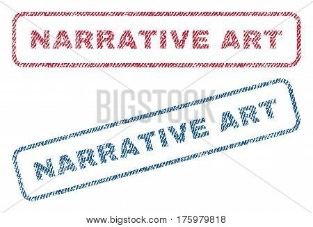 Narrative Art text textile seal stamp watermarks. Blue red fabric vectorized texture. Vector caption inside rounded rectangular shape. Rubber emblem with fiber textile structure.