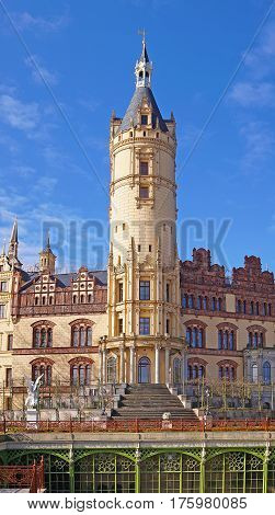 Schwerin Castle and blue sky with clouds Mecklenburg Western Pomerania Germany