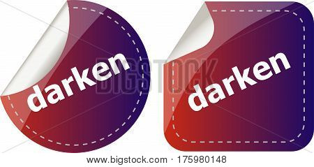 Darken Word Stickers Web Button Set, Label, Icon