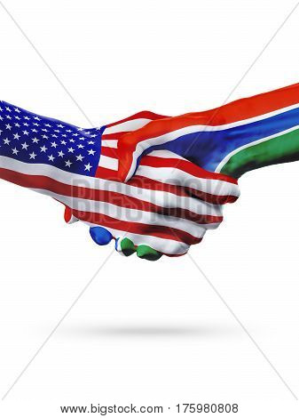 Flags United States and Gambia countries handshake cooperation partnership and friendship or sports competition isolated on white