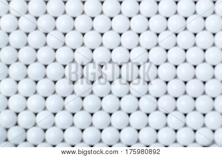 Blurred Background Of White Balls. Airsoft 6Mm