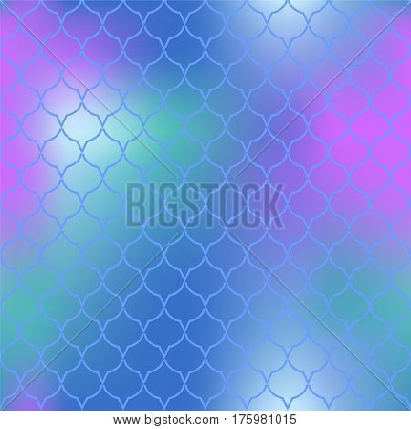 Fantastic fish skin vector pattern. Abstract fish scale seamless pattern for marine design. Fishscale pattern square tile. Mermaid tail ornament with pink blue and green colors. Regular scale pattern