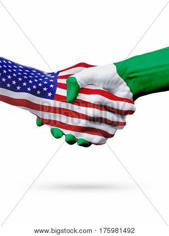 Flags United States and Nigeria countries handshake cooperation partnership and friendship or sports competition isolated on white