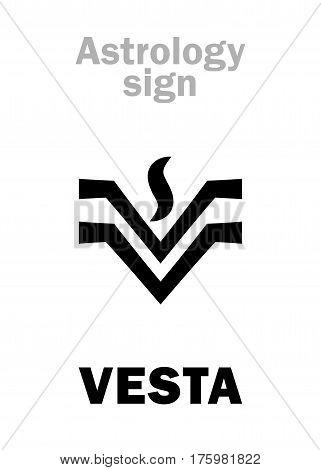 Astrology Alphabet: VESTA, classic asteroid. Hieroglyphics character sign (single symbol).