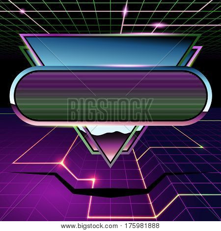 1980's inspired sci-fi background with chrome and neon. Graphics are grouped and in several layers for easy editing. The file can be scaled to any size.