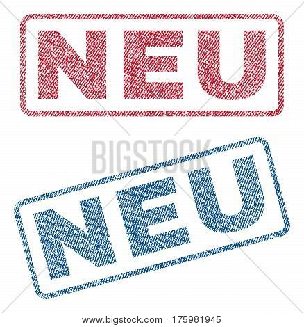 Neu text textile seal stamp watermarks. Blue red fabric vectorized texture. Vector caption inside rounded rectangular banner. Rubber emblem with fiber textile structure.
