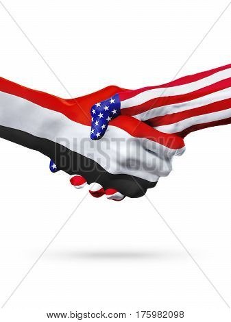 Flags Yemen and United States countries handshake cooperation partnership and friendship or sports competition isolated on white