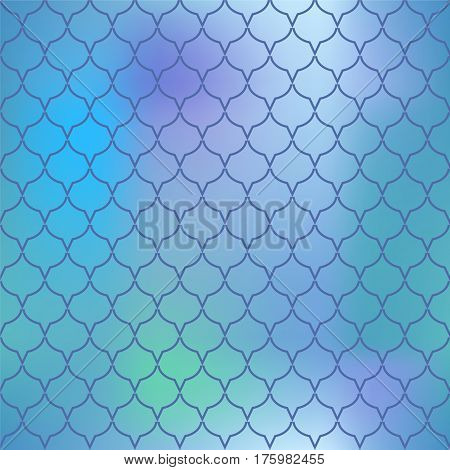 Blue fish skin vector pattern. Fantasy fish scale seamless pattern for marine design. Fishscale pattern square tile. Mermaid tail ornament with pink blue and green colors. Regular scale net pattern
