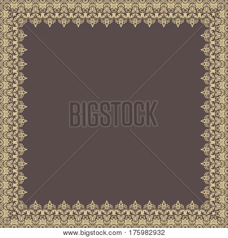 Classic square golden frame with arabesques and orient elements. Abstract fine ornament with place for text