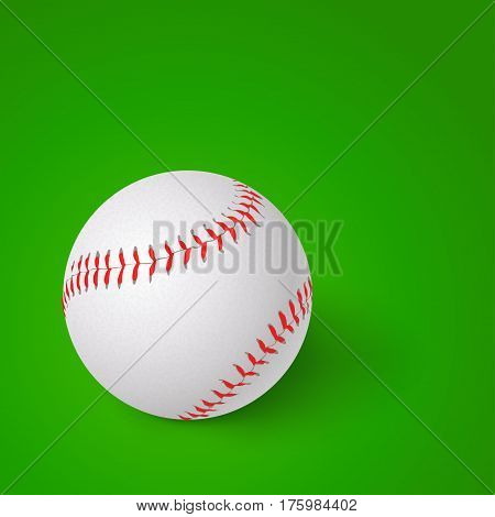 illustration of baseball ball with shadow on green background