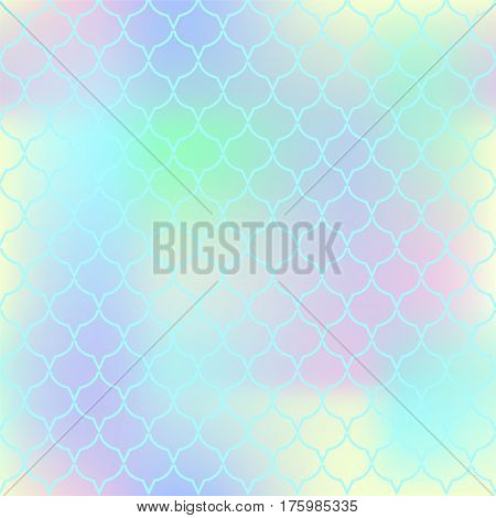 Pastel palette fish skin vector pattern. Fish scale seamless pattern with gradient mesh. Marine design background. Fishscale pattern square tile. Yellow mermaid tail ornament. Regular scale pattern