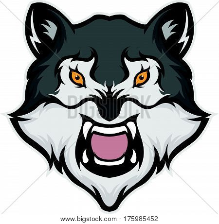 Wolf head mascot isolated in white background