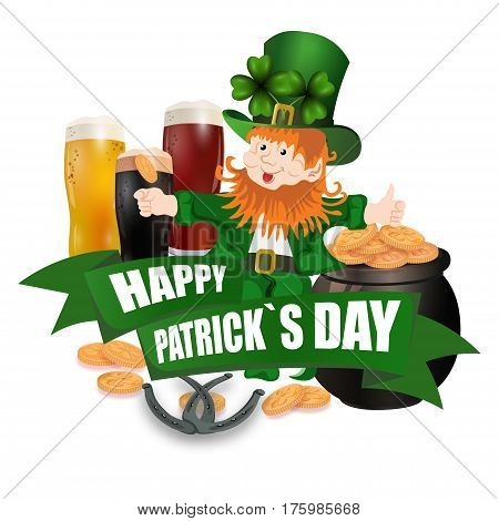 Leprechaun in a green hat. Three kinds of beer. Pot with coins. Two leaves of clover. Horseshoes. An inscription for St. Patrick's Day. Isolated on white background. Vector illustration