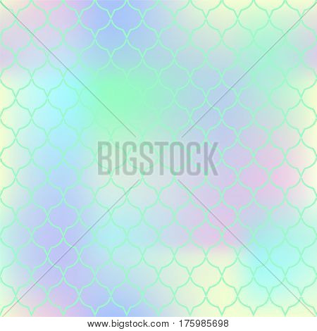 Yellow green fish skin vector pattern. Abstract fish scale seamless pattern for marine design. Fishtail pattern square tile. Mermaid tail ornament with gradient mesh Regular scale pattern background