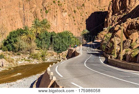 Road towards Todgha Gorge, a canyon in the High Atlas Mountains in Morocco