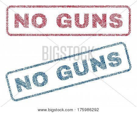 No Guns text textile seal stamp watermarks. Blue red fabric vectorized texture. Vector tag inside rounded rectangular banner. Rubber sticker with fiber textile structure.