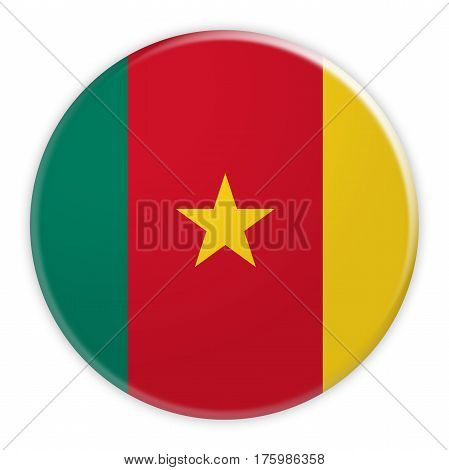 Cameroon Flag Button News Concept Badge 3d illustration on white background