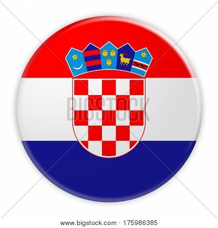 Croatia Flag Button News Concept Badge 3d illustration on white background