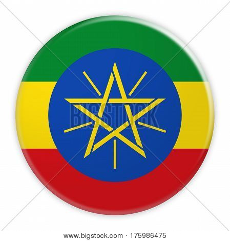 Ethiopia Flag Button News Concept Badge 3d illustration on white background