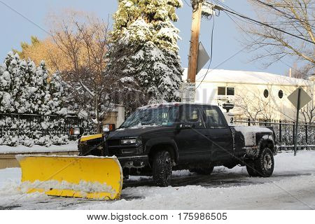 BROOKLYN, NEW YORK - FEBRUARY 9, 2017: New York City ready for clean up after massive Snow Storm Niko strikes Northeast