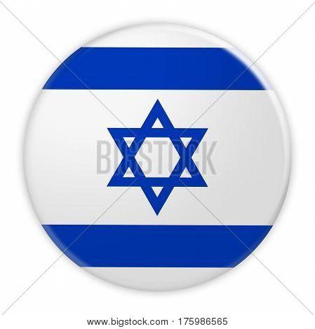 Israel Flag Button News Concept Badge 3d illustration on white background