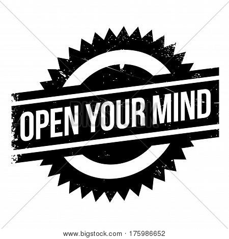 Open your mind stamp. Grunge design with dust scratches. Effects can be easily removed for a clean, crisp look. Color is easily changed.