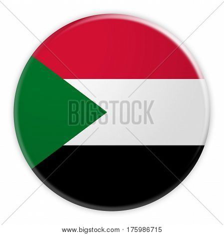 Sudan Flag Button News Concept Badge 3d illustration on white background