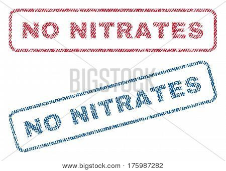 No Nitrates text textile seal stamp watermarks. Blue, red fabric vectorized texture. Vector caption inside rounded rectangular banner. Rubber sign with fiber textile structure.