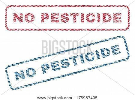 No Pesticide text textile seal stamp watermarks. Blue, red fabric vectorized texture. Vector tag inside rounded rectangular banner. Rubber sticker with fiber textile structure.