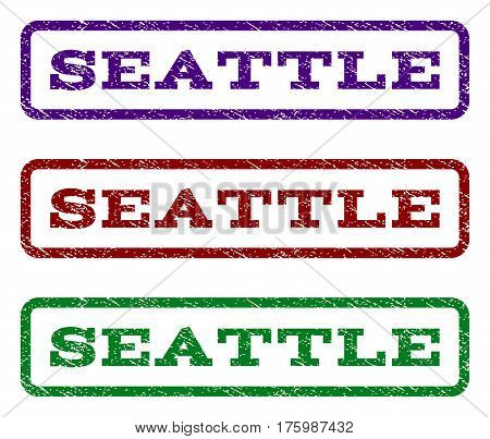 Seattle watermark stamp. Text caption inside rounded rectangle with grunge design style. Vector variants are indigo blue, red, green ink colors. Rubber seal stamp with dust texture.