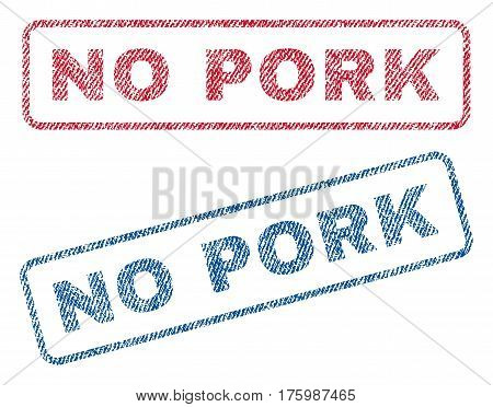 No Pork text textile seal stamp watermarks. Blue, red fabric vectorized texture. Vector caption inside rounded rectangular shape. Rubber sign with fiber textile structure.