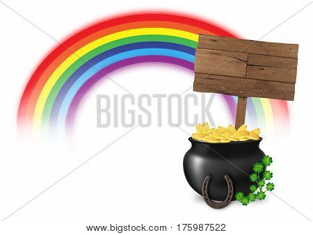 illustration of pot of gold at end of rainbow with wooden sign horseshoe and lucky clover isolated on white background, concept of good luck and fortune