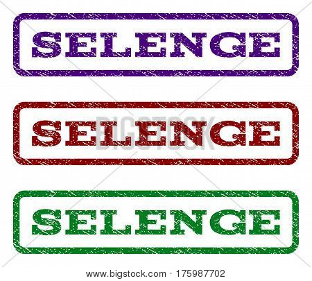 Selenge watermark stamp. Text tag inside rounded rectangle frame with grunge design style. Vector variants are indigo blue, red, green ink colors. Rubber seal stamp with unclean texture.